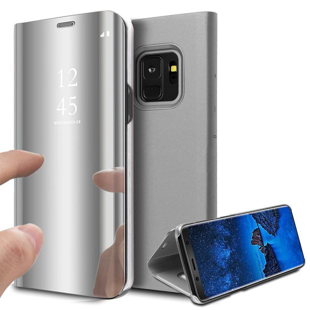 pour Samsung Galaxy Note 9 Clear View Etui à Rabat Cover Flip Case Housse Translucide Miroir Antichoc Argent