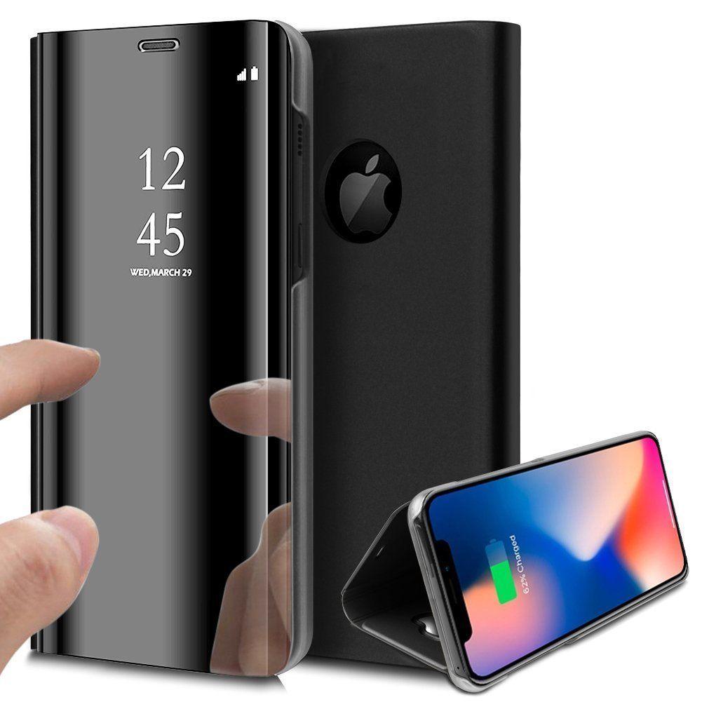 pour iPhone X (10) / Xs (10s) Clear View Etui à Rabat Cover Flip Case Housse Translucide Miroir Antichoc Noir