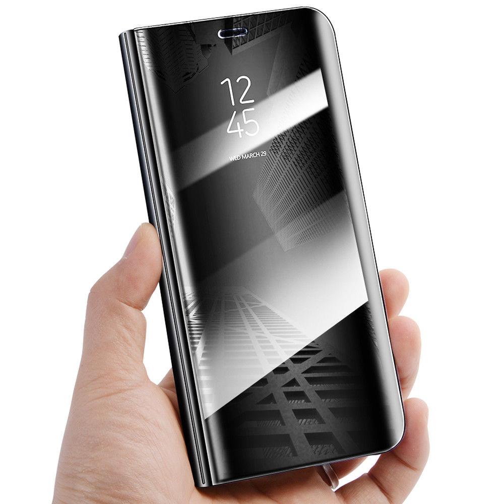 Coque à Rabat pour Huawei P30 Lite Cover Flip Case Translucide Miroir Antichoc Noir