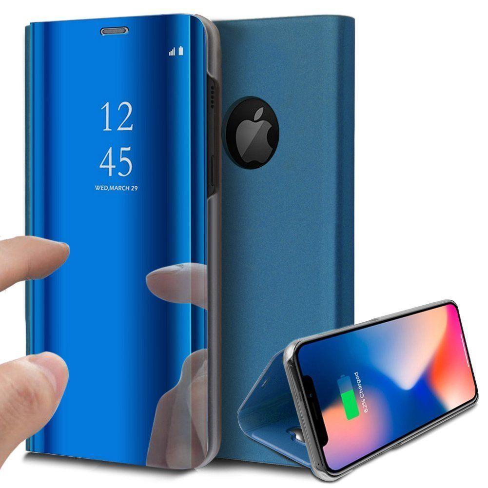 pour iPhone X (10) / Xs (10s) Clear View Etui à Rabat Cover Flip Case Housse Translucide Miroir Antichoc Bleu