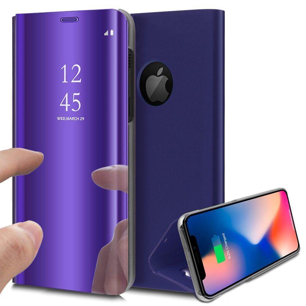 pour iPhone X (10) / Xs (10s) Clear View Etui à Rabat Cover Flip Case Housse Translucide Miroir Antichoc Violet