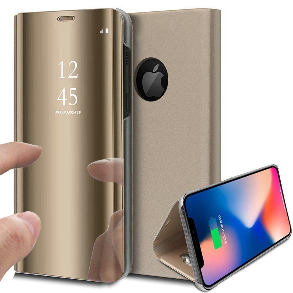 pour iPhone X (10) / Xs (10s) Clear View Etui à Rabat Cover Flip Case Housse Translucide Miroir Antichoc Or