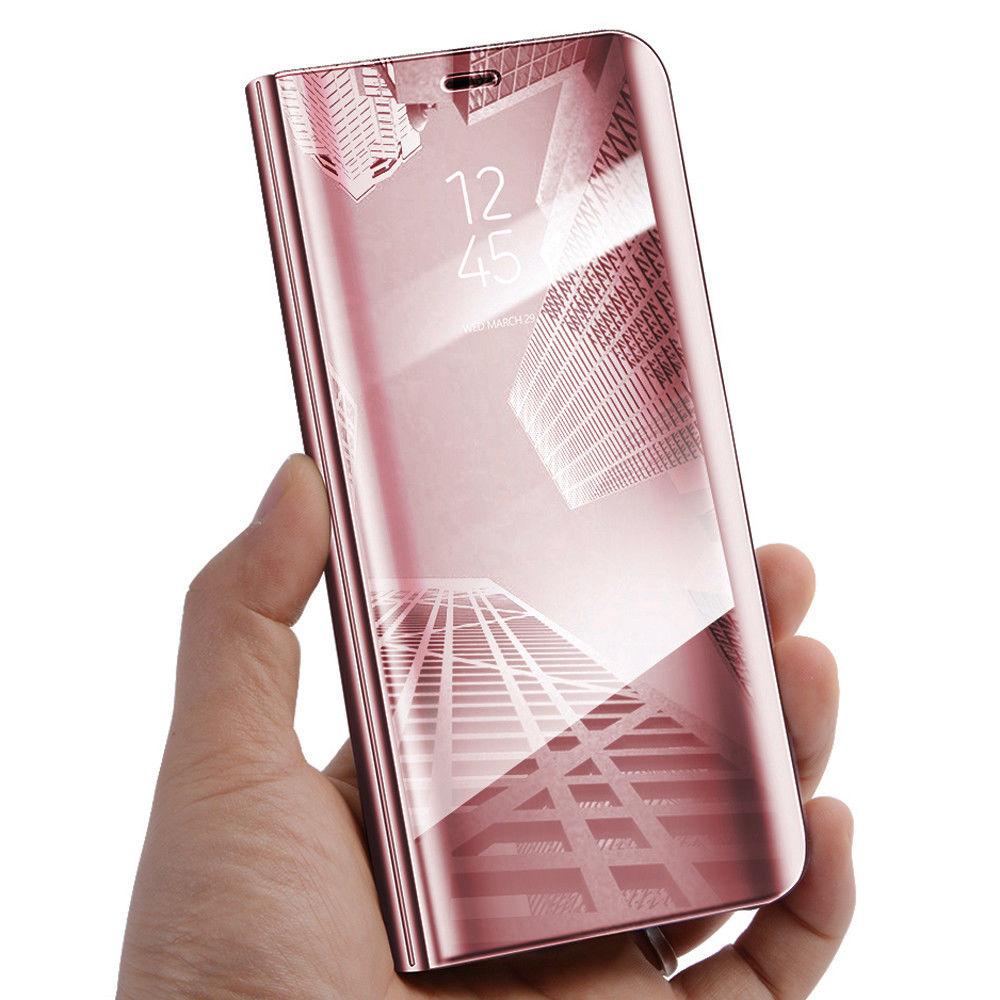 Coque à Rabat pour Huawei P30 Lite Cover Flip Case Translucide Miroir Antichoc Rose
