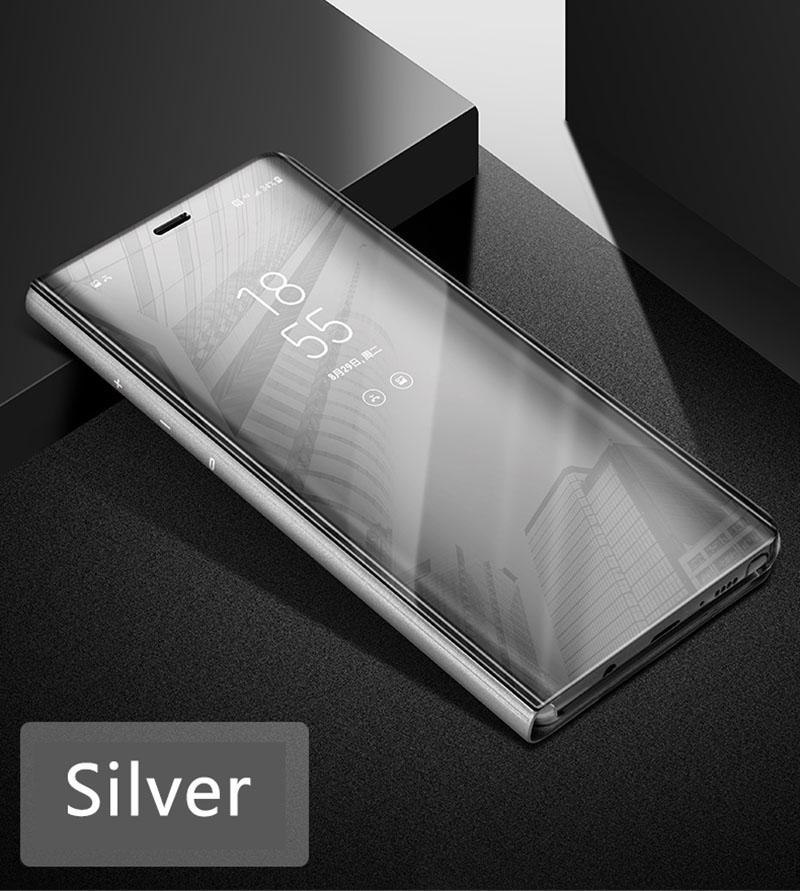 Coque à Rabat pour Samsung Galaxy S10e Cover Flip Case Translucide Miroir Antichoc Argent