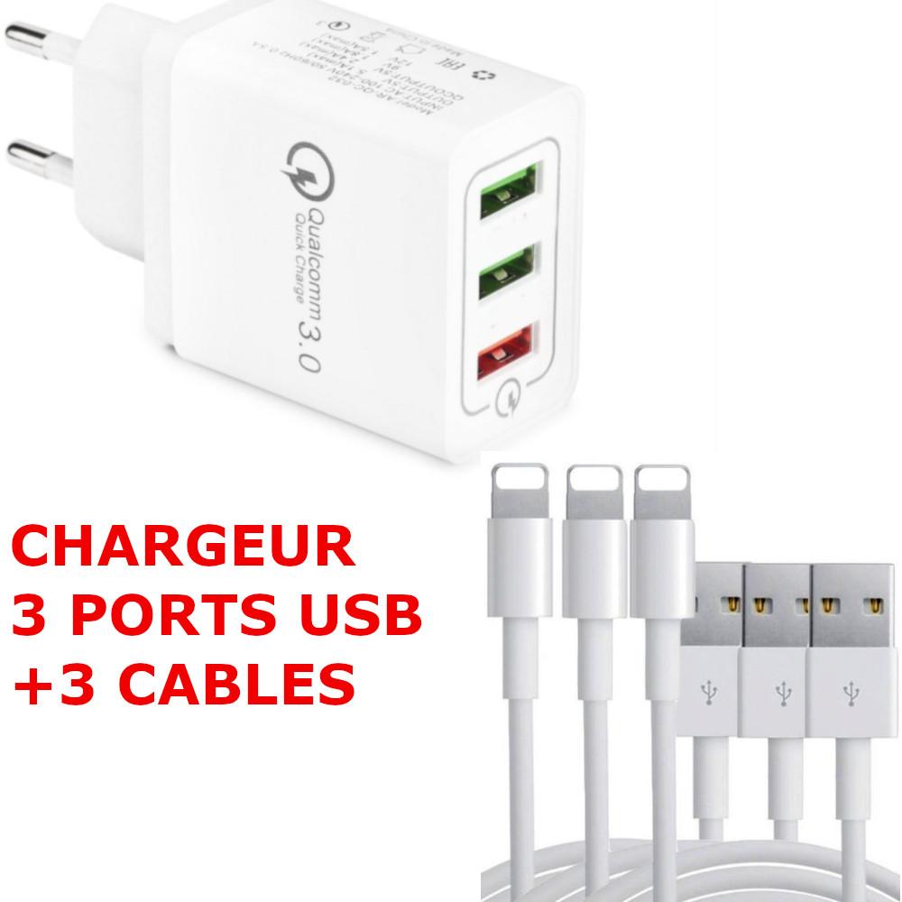 Chargeur Multiple USB 3 Ports Prise USB Secteur Mural 4.8A QC 3.0 + 3X Cables lightning usb Pour iPhone et iPad