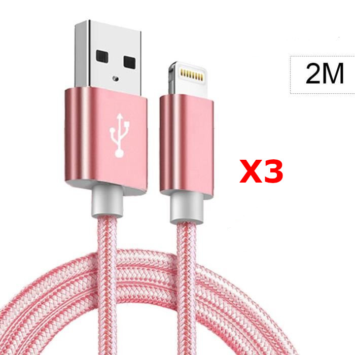 X3 Cable Metal Nylon Renforce Chargeur USB Couleur Rose pour IPhone Longueur 2m Tréssé Compatible IPhone 5s/6/6S/7/8/X/Xr X3