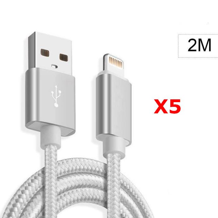 X5 Cable Metal Nylon Renforce Chargeur USB Couleur Argent pour IPhone Longueur 2m Tréssé Compatible IPhone 5s/6/6S/7/8/X/Xr X5