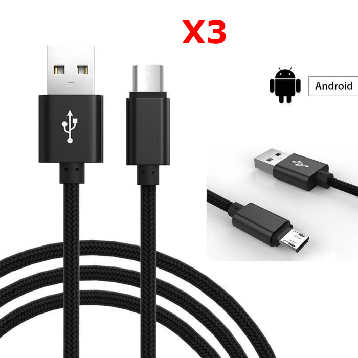 X3 Câble Metal Nylon Renforcé Chargeur USB/Micro USB Longueur 2m Couleur Noir Compatible Samsung LG Sony Wiko Blackberry Motorola Asus Huawei Honor Xiaomi Oppo Archos TEENO X3 Little Boutik®