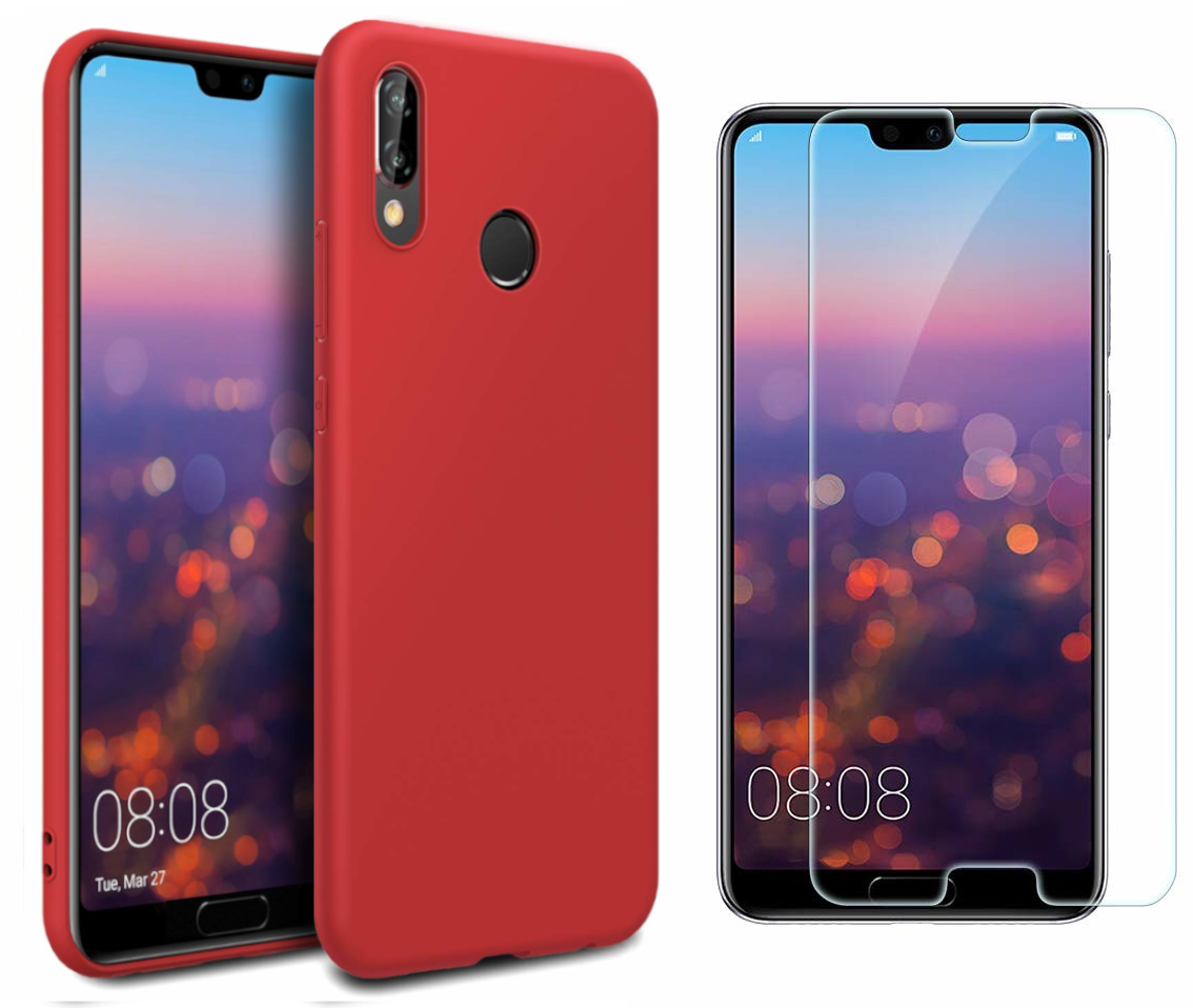 Coque Souple Silicone Pour Huawei P20 Rouge + Verre Trempé Anti chocs et Rayures Vitre de Protection