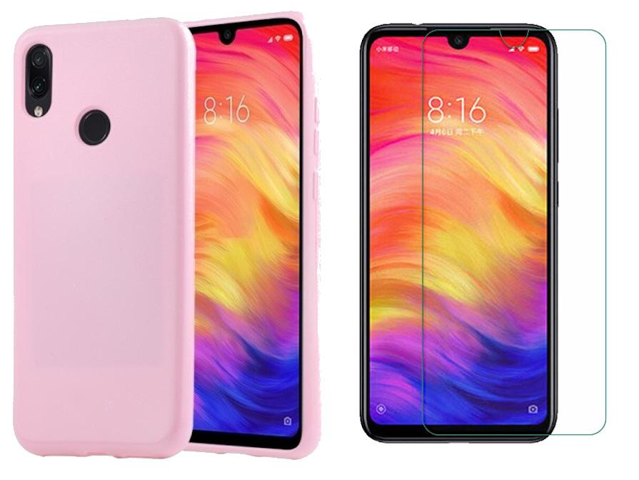 Coque Souple Silicone Pour Xiaomi Redmi Note 7 Couleur Rose + Verre Trempé Anti chocs et Rayures Vitre de Protection  Little Boutik®