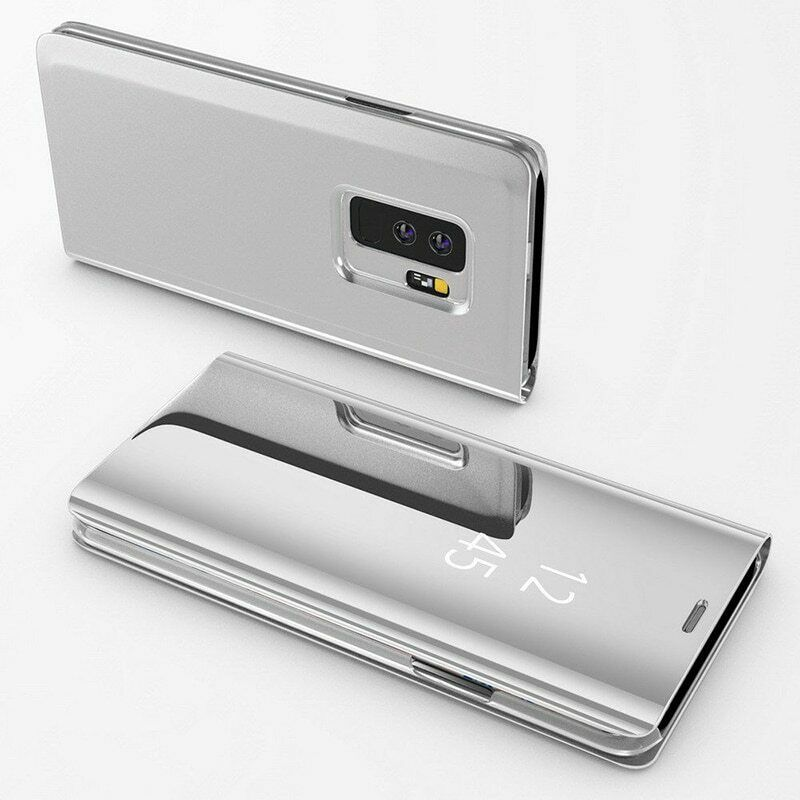 Coque Rabat Miroir Clear View Pour Samsung Galaxy A7 2018 Argent