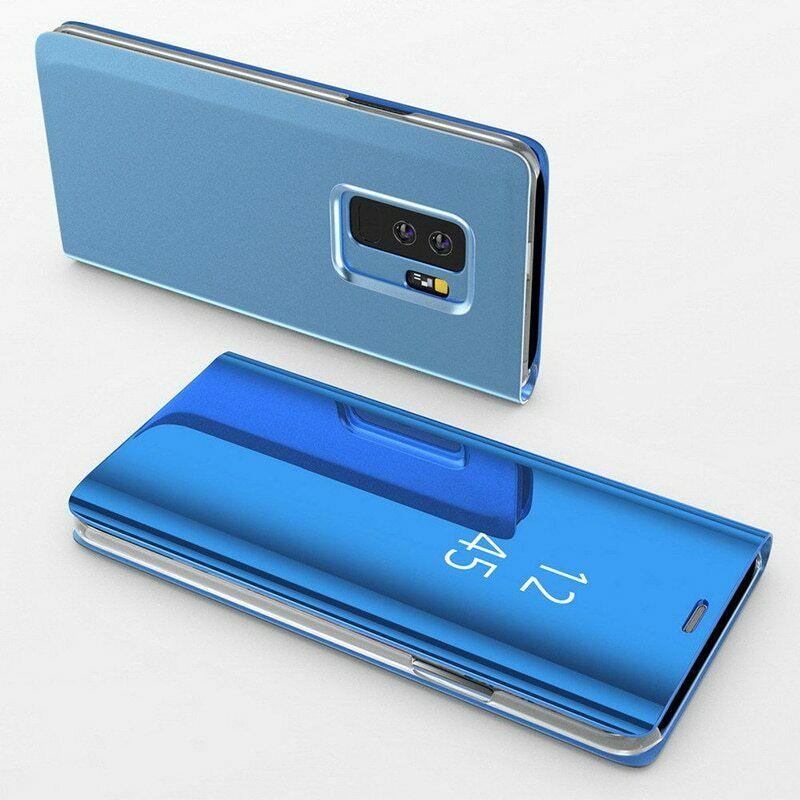 Coque Rabat Miroir Clear View Pour Samsung Galaxy A40 Bleu