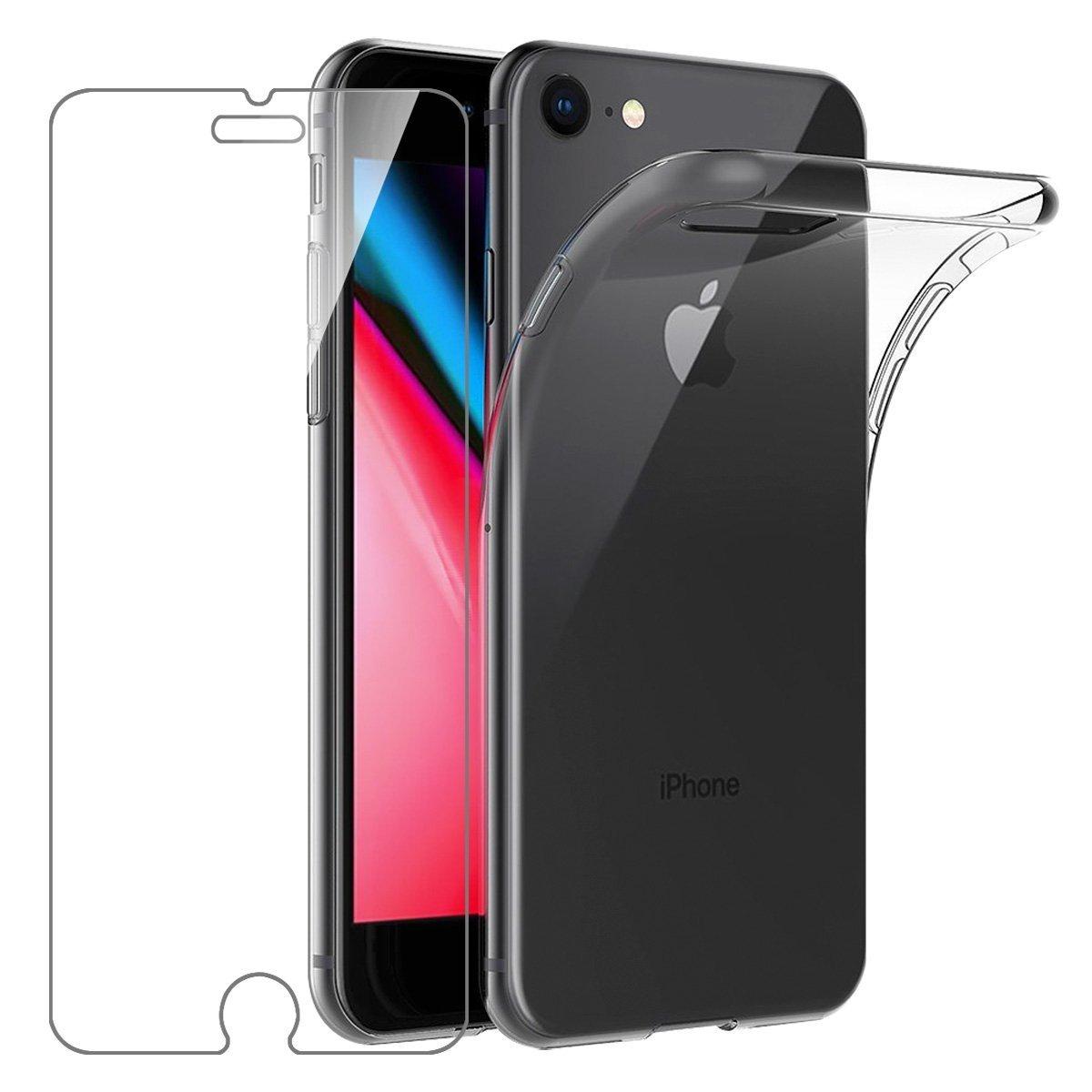 Coque Silicone transparente + Verre Trempe  pour iPhone 7 / iPhone 8 / SE 2020 Little Boutik®