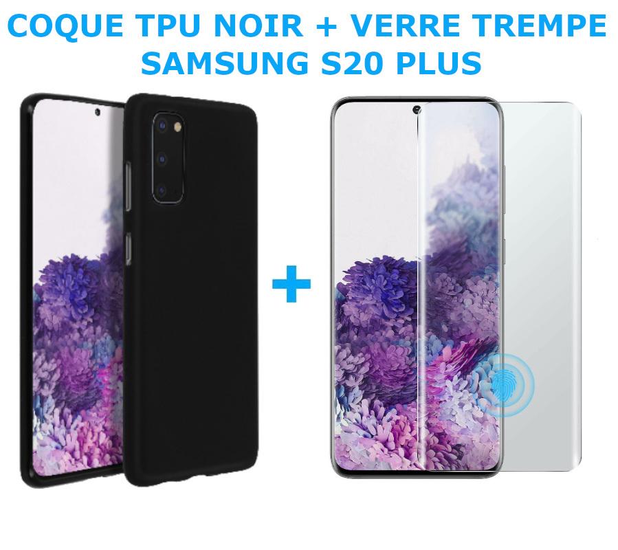 COQUE SILICONE NOIR + VERRE TREMPE POUR SAMSUNG S20 PLUS Little Boutik®