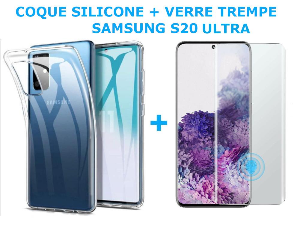 Coque Silicone Haute Resistance + Verre Trempe Protection Ecran Pour SAMSUNG S20 Ultra Little Boutik®