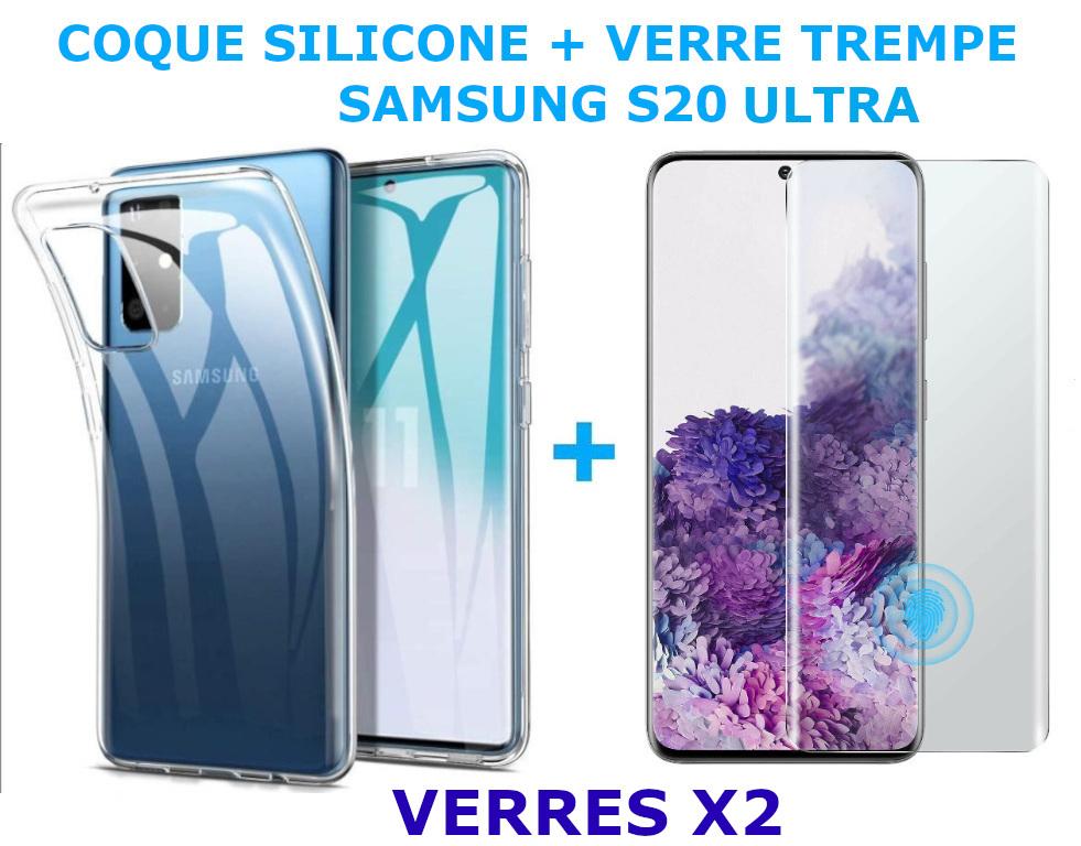 Coque Silicone Transparente Pour Samsung Galaxy S20 Ultra + 2 Verres Trempe - Little Boutik®
