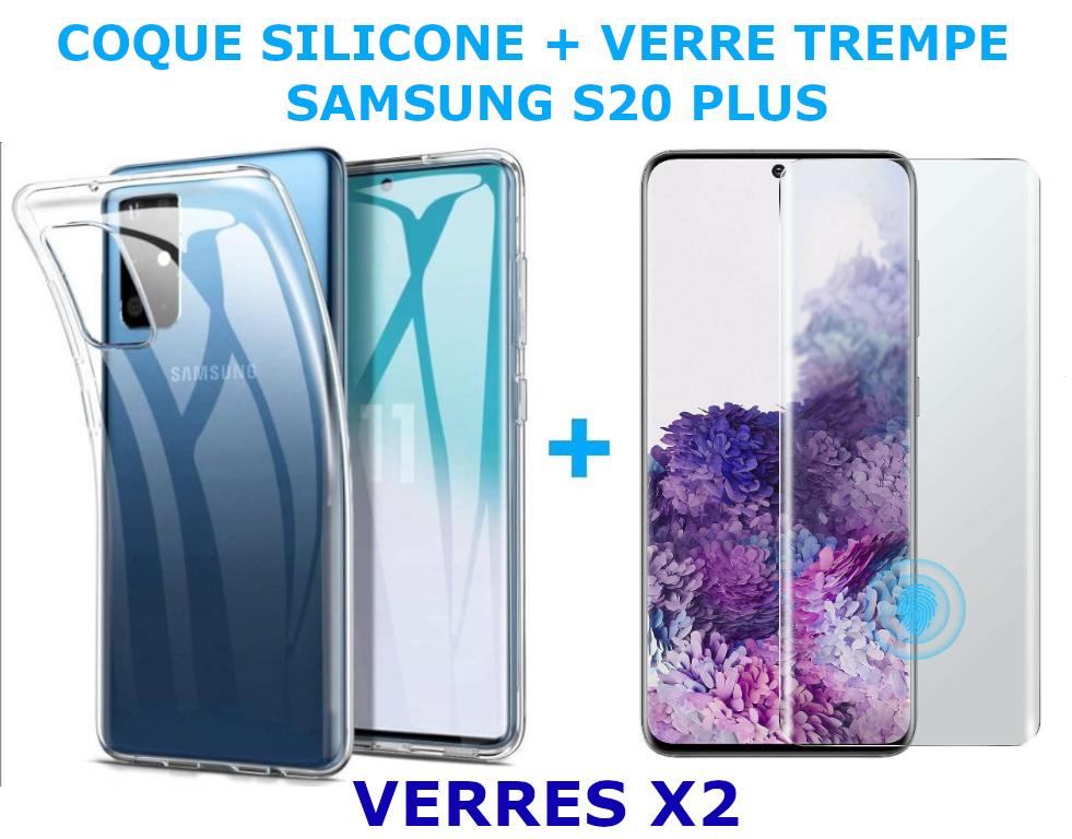 Coque Silicone Transparente Pour Samsung Galaxy S20 Plus + 2 Verres Trempe - Little Boutik®