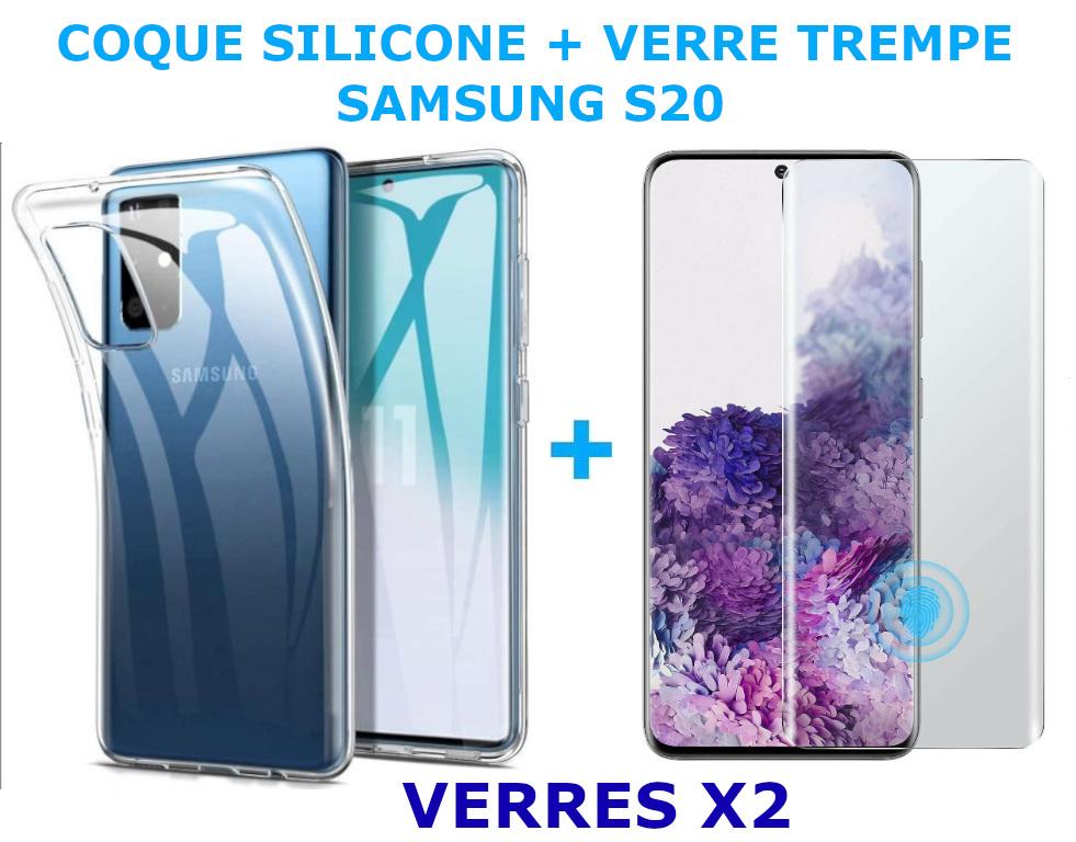 Coque Silicone Transparente Pour Samsung Galaxy S20 + 2 Verres Trempe - Little Boutik®
