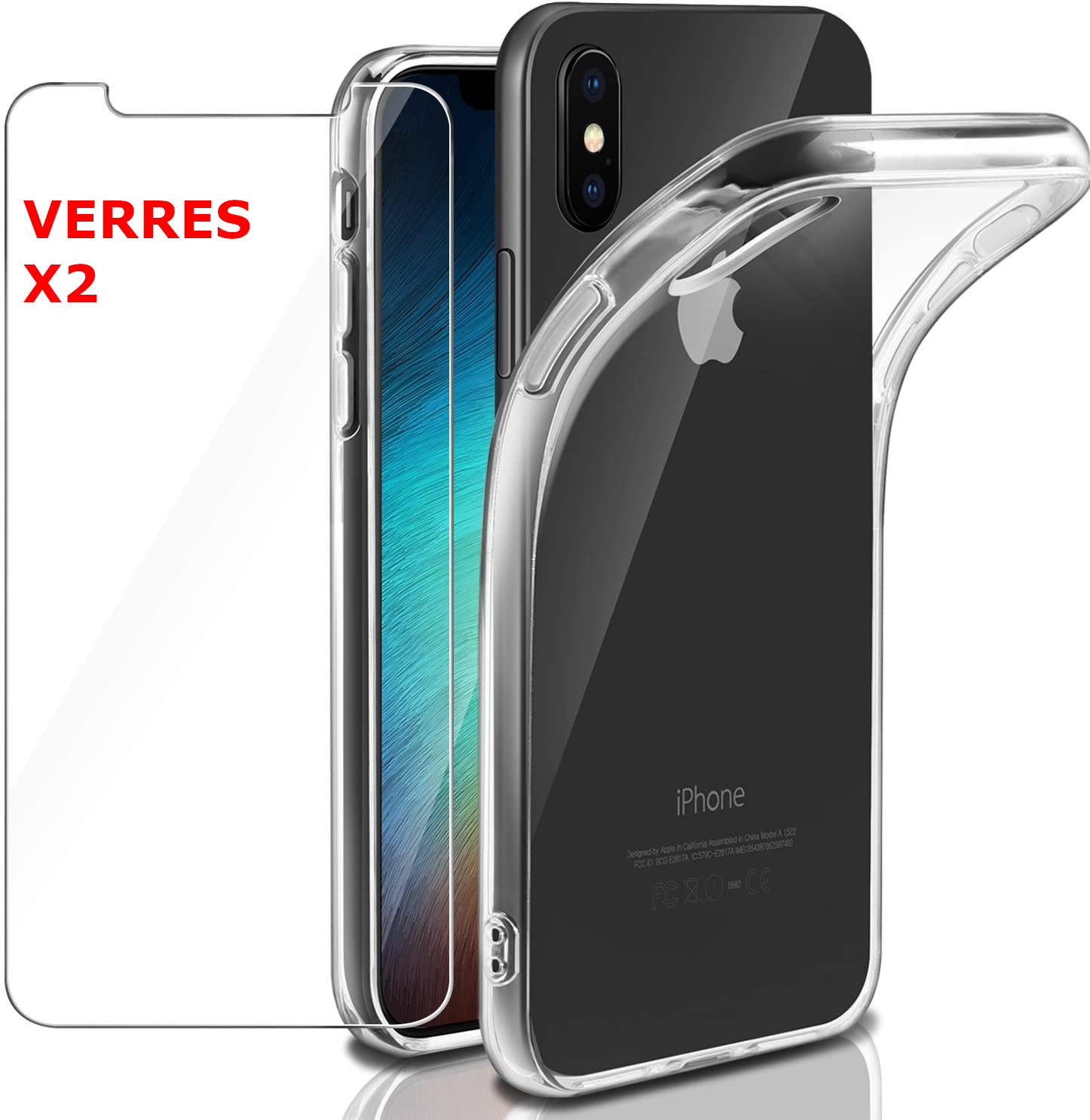 Coque Silicone Transparente Pour iPhone X / Xs  + 2 Verres Trempe - Little Boutik®