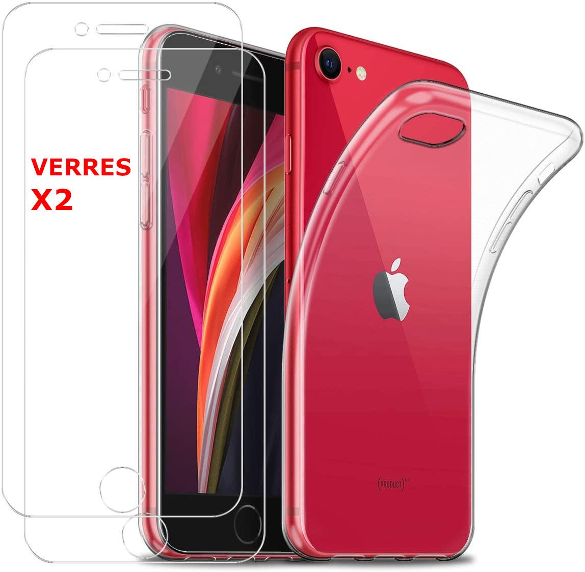 Coque Silicone Transparente Pour iPhone 7 / 8 + 2 Verres Trempe - Little Boutik®
