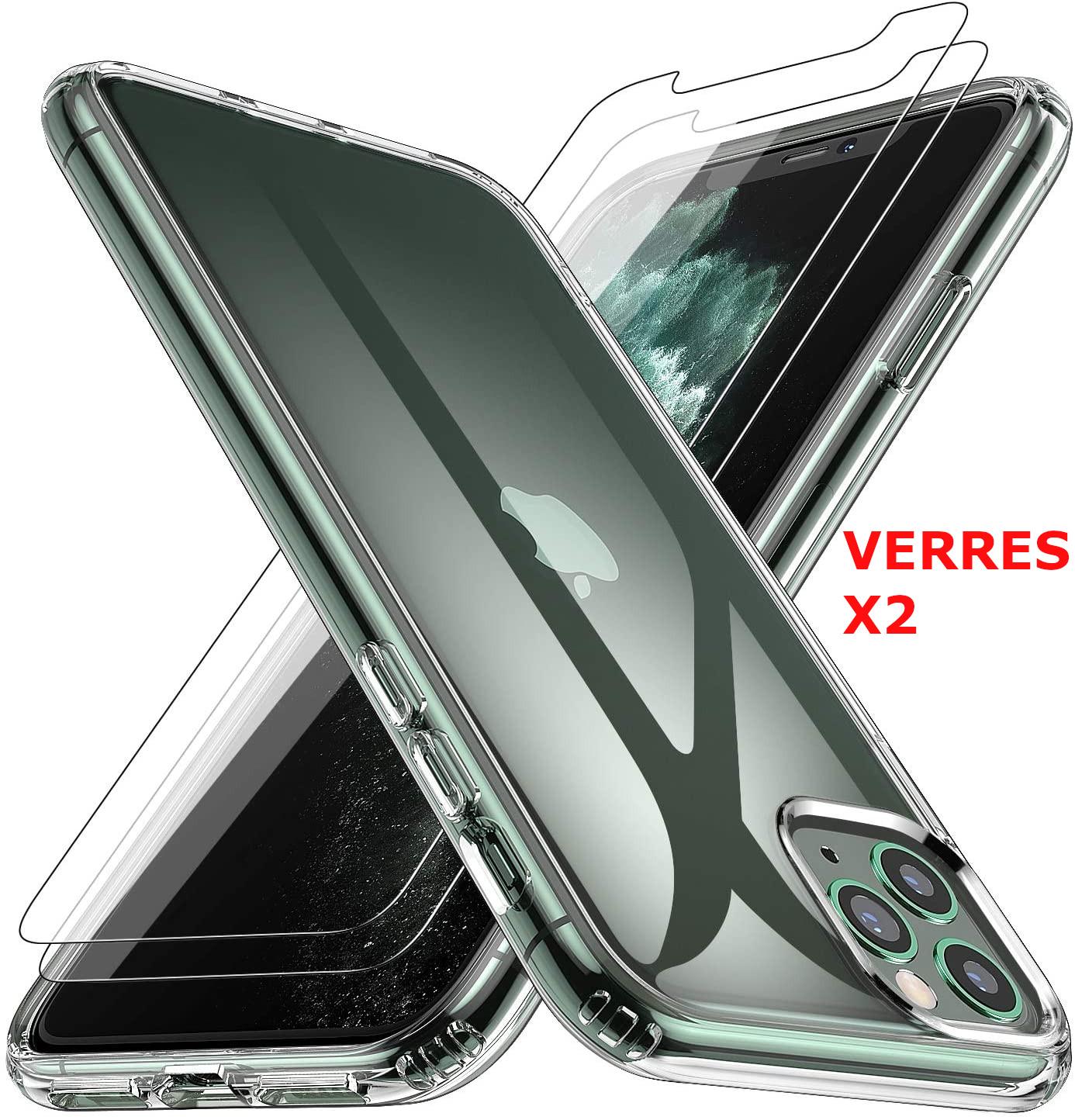 Coque Silicone Transparente Pour iPhone 11 Pro Max + 2 Verres Trempe - Little Boutik®