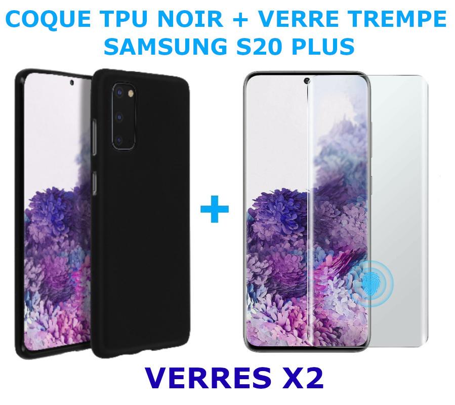 Coque Silicone Noire Pour Samsung Galaxy S20 Plus + 2 Verres Trempe - Little Boutik®