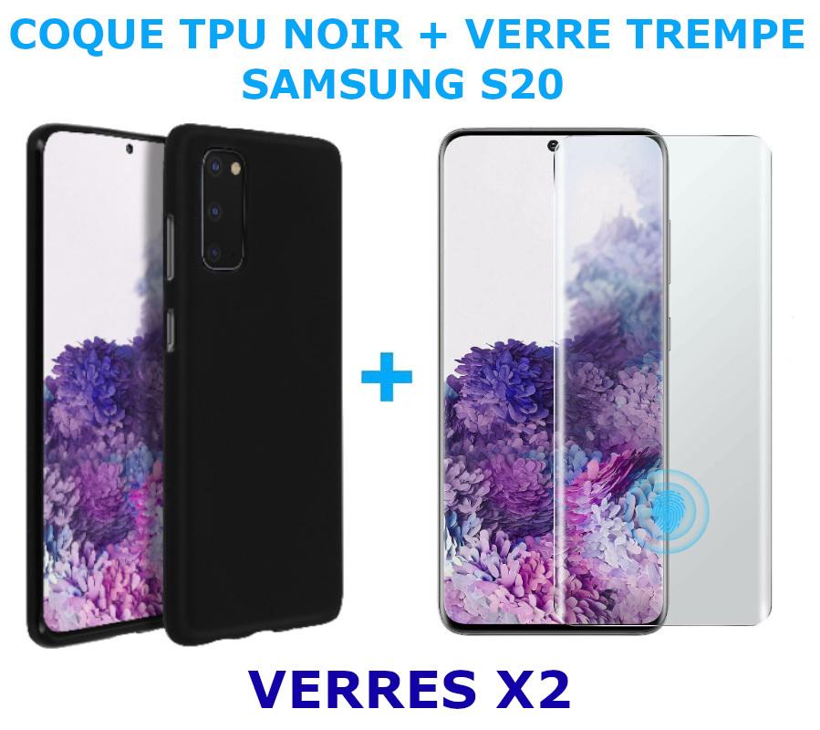 Coque Silicone Noire Pour Samsung Galaxy S20 + 2 Verres Trempe - Little Boutik®