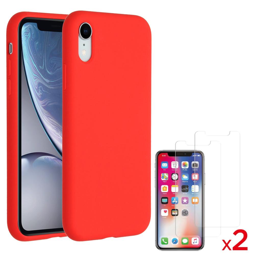 Coque Silicone pour iPhone X / Xs Rouge Antichoc + 2 Verres Trempes Little Boutik®
