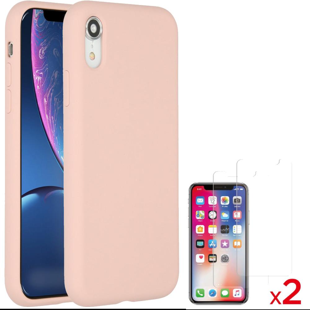 Coque Silicone pour iPhone Xr Rose Antichoc + 2 Verres Trempes Little Boutik®
