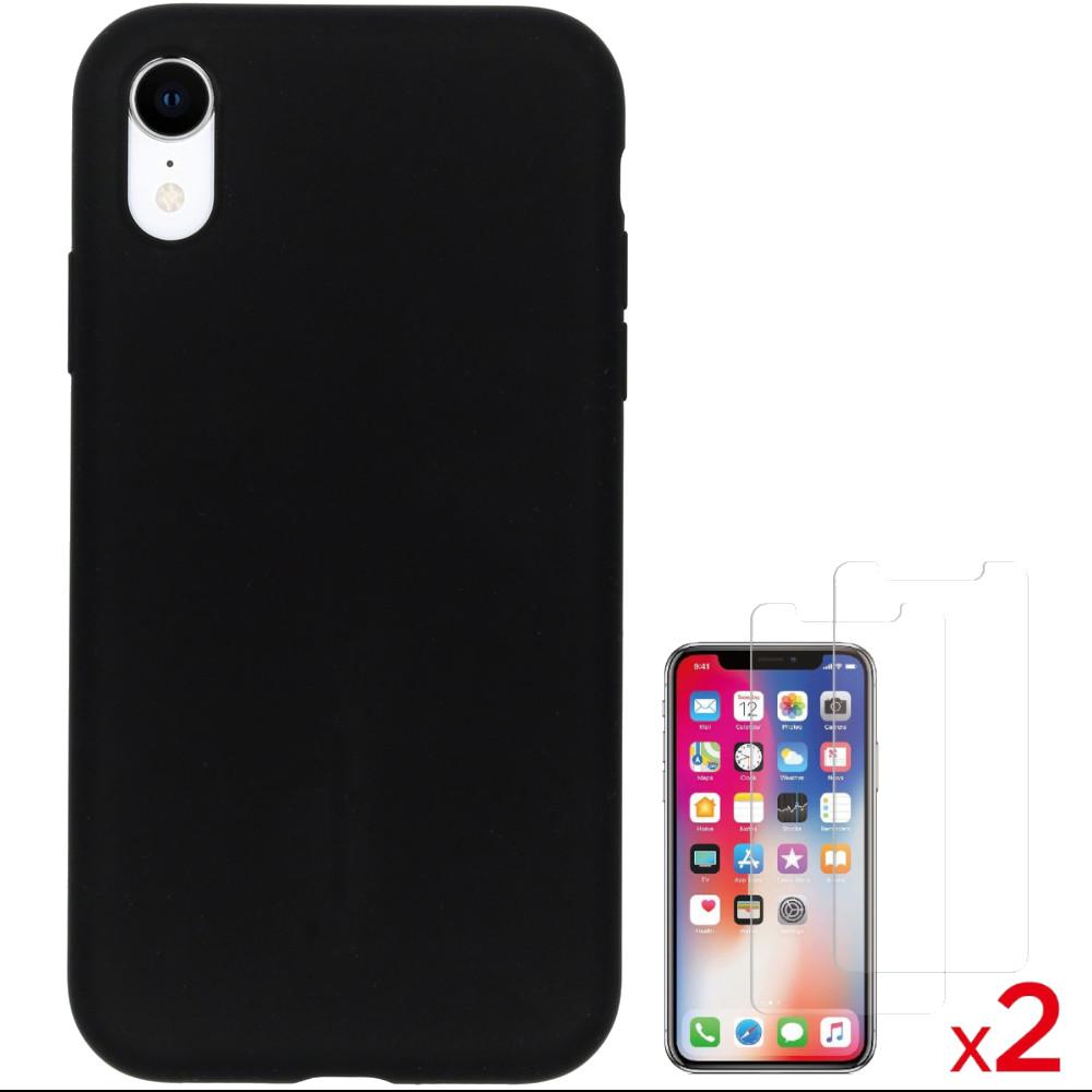 Coque Silicone pour iPhone X / Xs Noir Antichoc + 2 Verres Trempes Little Boutik®