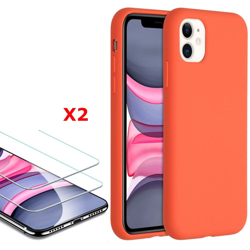 Coque Silicone pour iPhone 11 Rouge Antichoc + 2 Verres Trempes Little Boutik®