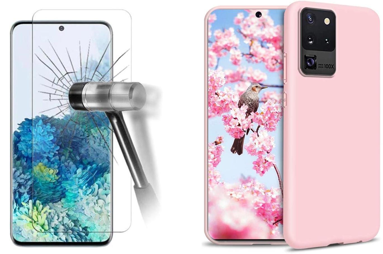 Coque Silicone pour Samsung S20 Etui de Protection Rose Antichoc + Verre Trempe Little Boutik®