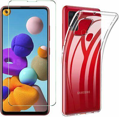 Coque Silicone pour Samsung A21S Etui de Protection Transparent Antichoc + Verre Trempe Little Boutik®