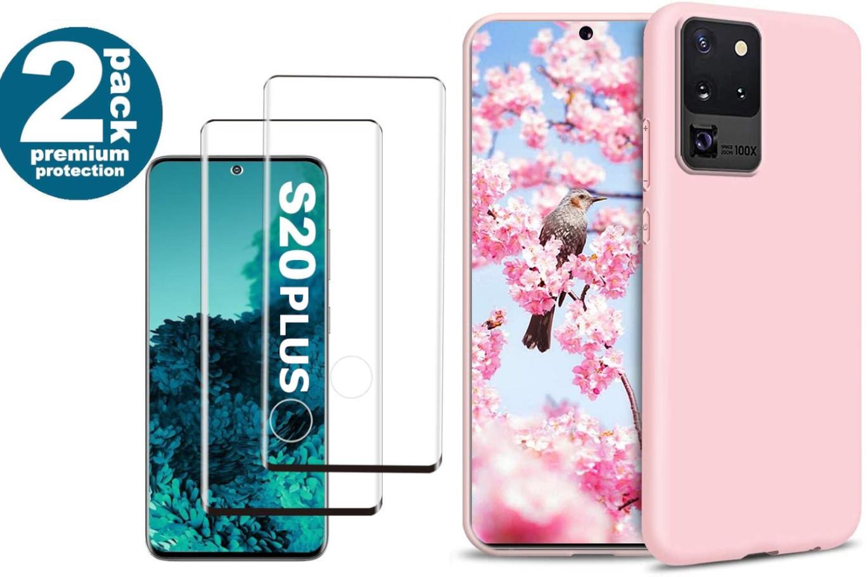 Coque Silicone pour Samsung S20 Plus Etui de Protection Rose Antichoc + 2 Verres Trempes Little Boutik®