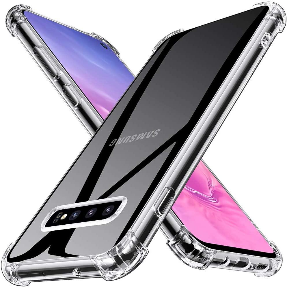 Coque Silicone pour Samsung S10 Plus Etui de Protection Transparent Antichoc avec Quatre Coins Renforces Little Boutik®