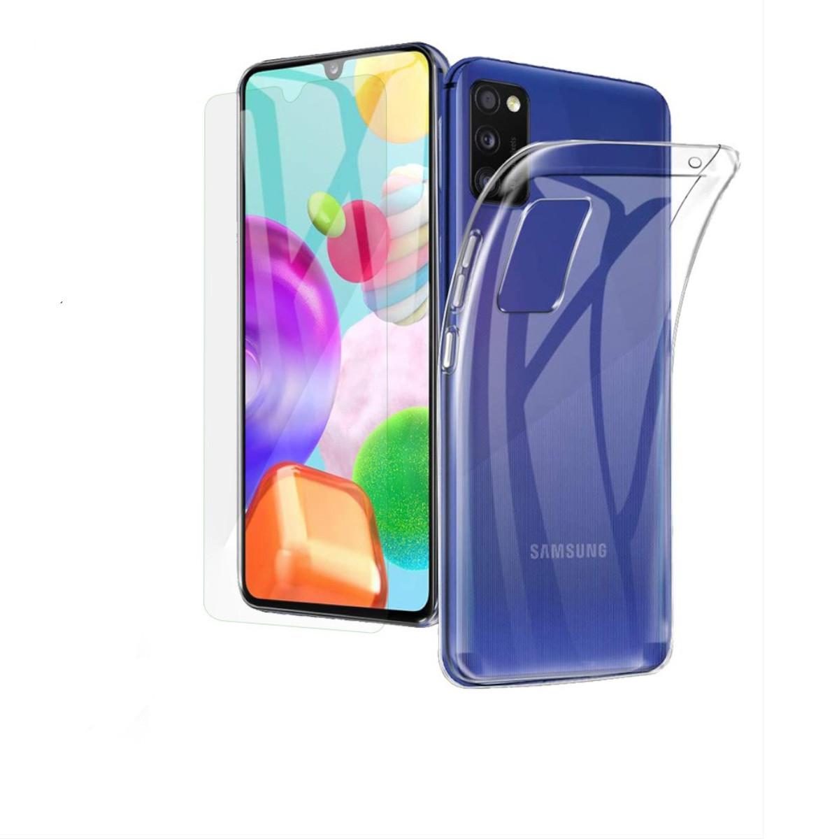 Coque Silicone pour Samsung A41 Etui de Protection Transparent Antichoc + Verre Trempe Little Boutik®