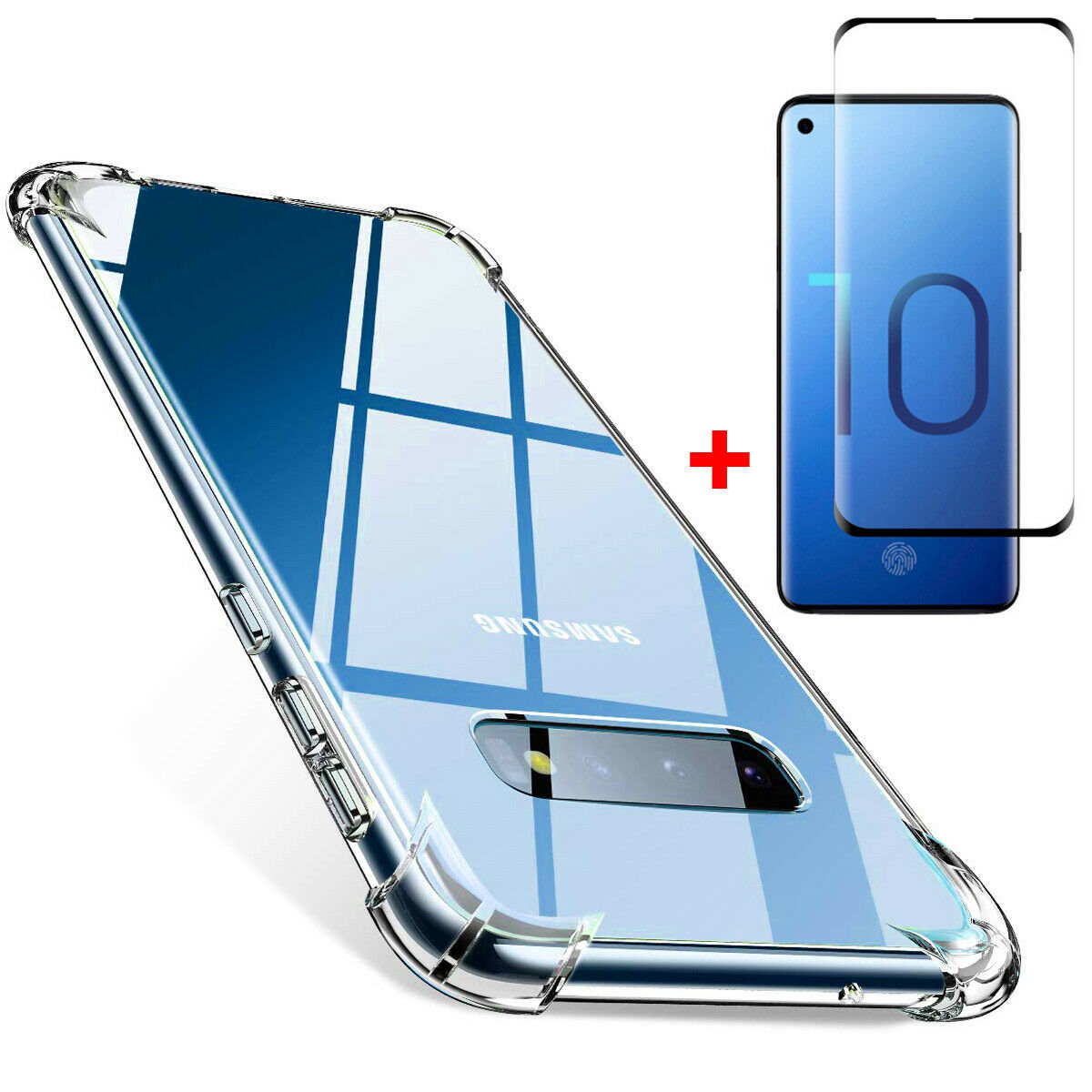 Coque Silicone pour Samsung S10 Plus Transparent avec Quatre Coins Renforces + Verre Trempee Little Boutik®