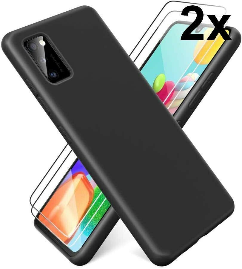 Coque Silicone pour Samsung A41 Etui de Protection Noir Antichoc + 2 Verres Trempes Little Boutik®