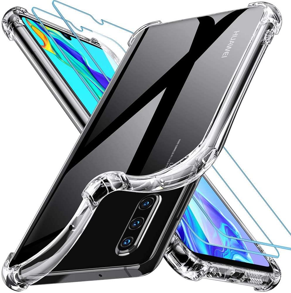 Coque Silicone pour Huawei P30 Transparent avec Quatre Coins Renforces + 2 Verres Trempes Little Boutik®