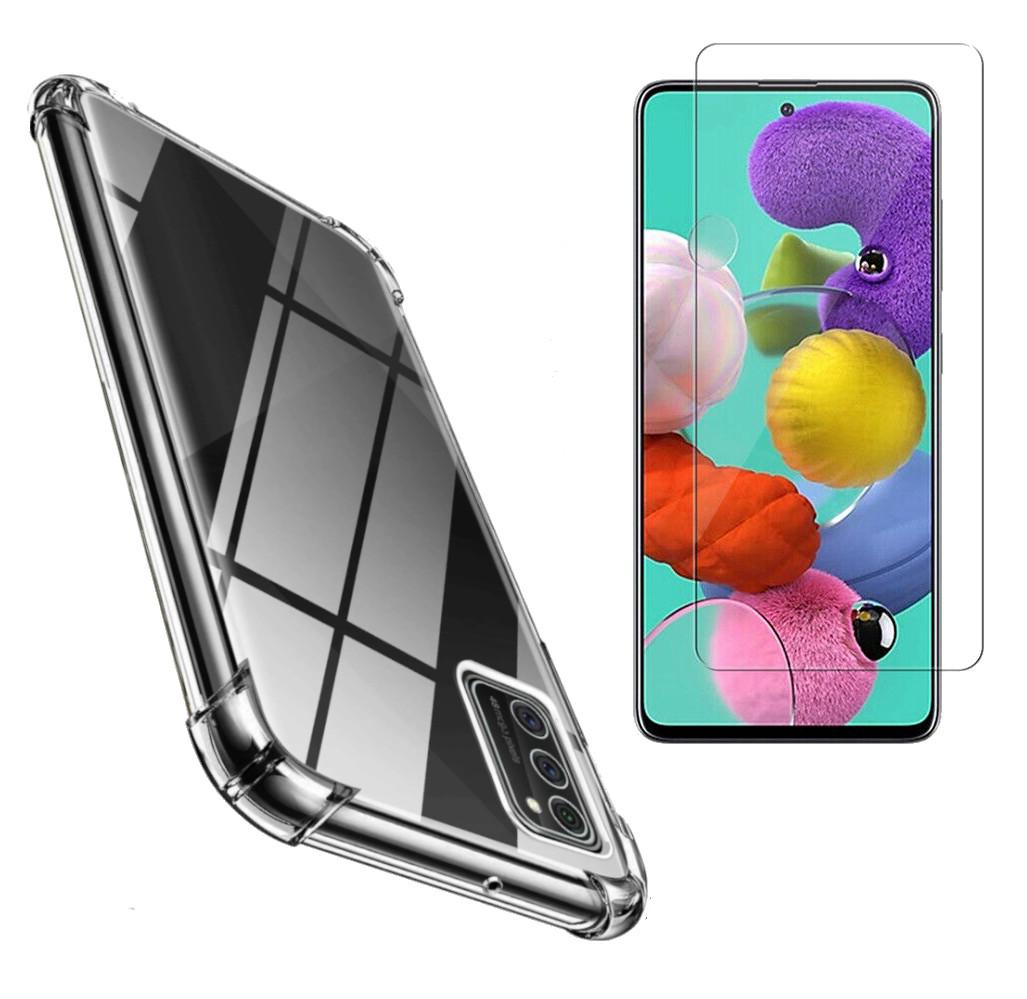 Coque Silicone pour Samsung A41 Transparent avec Quatre Coins Renforces + Verre Trempee Little Boutik®