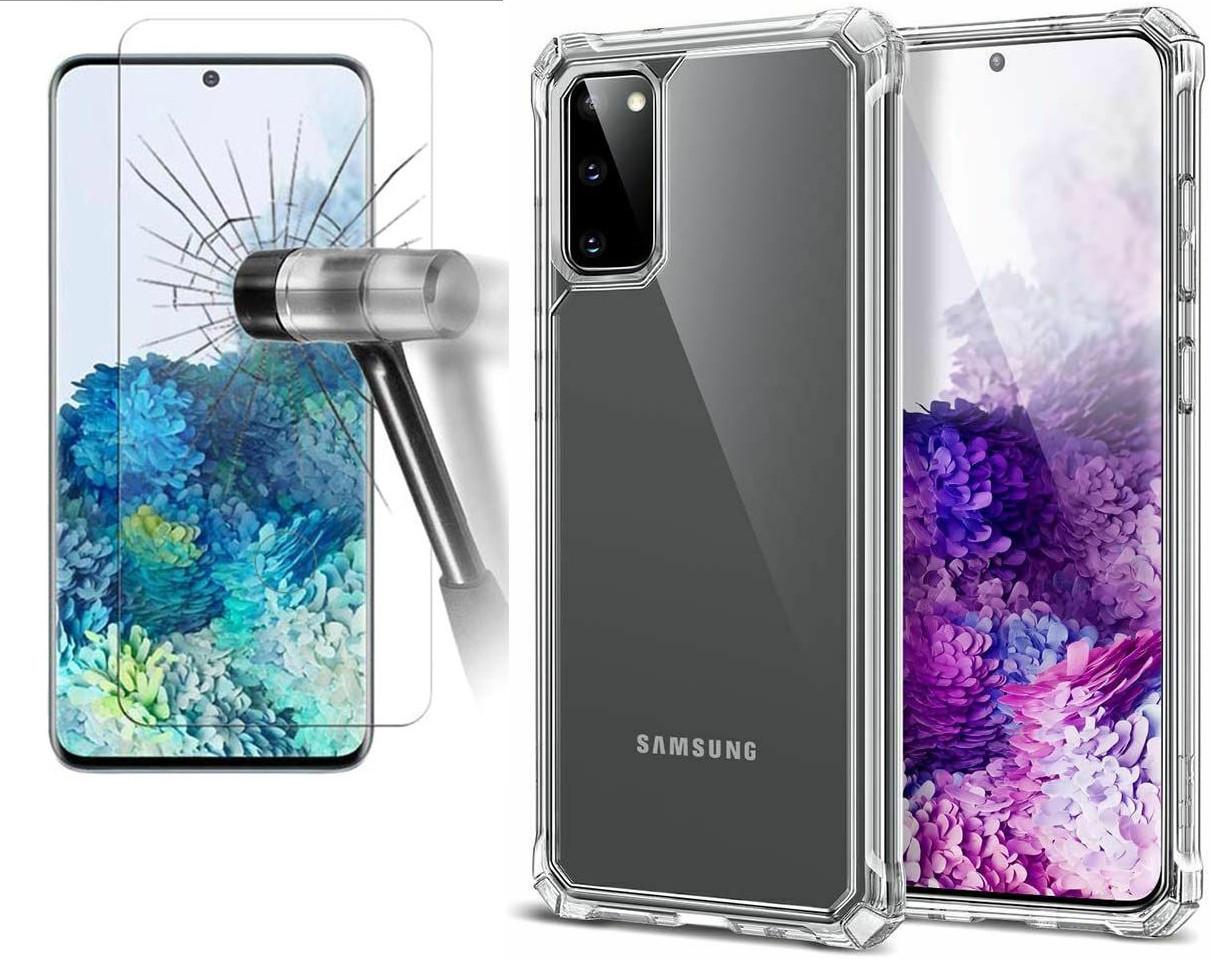 Coque Silicone pour Samsung S20 Transparent avec Quatre Coins Renforces + Verre Trempee Little Boutik®