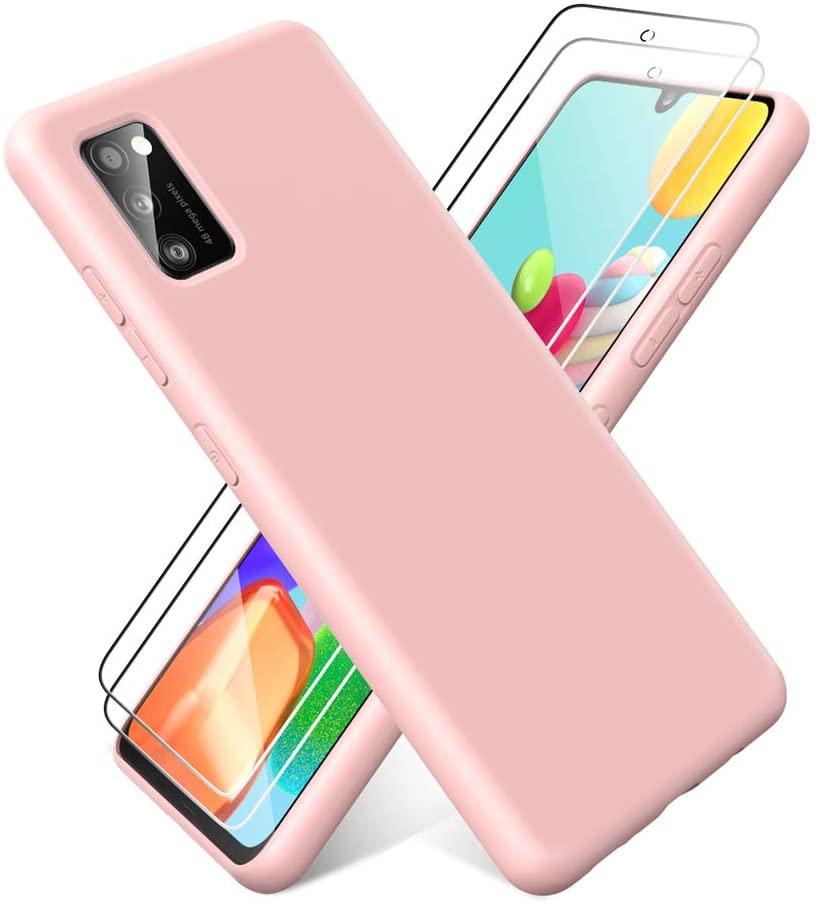 Coque Silicone pour Samsung A41 Etui de Protection Rose Antichoc + 2 Verres Trempes Little Boutik®
