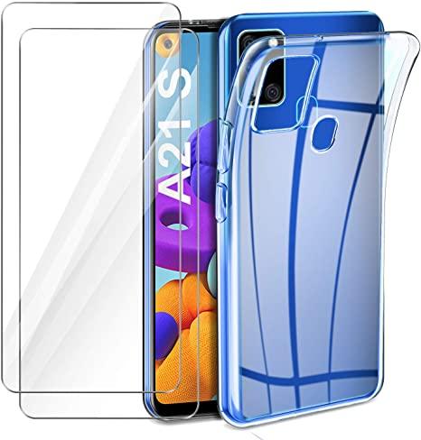 Coque Silicone pour Samsung A21S Etui de Protection Transparent Antichoc + 2 Verre Trempe Little Boutik®