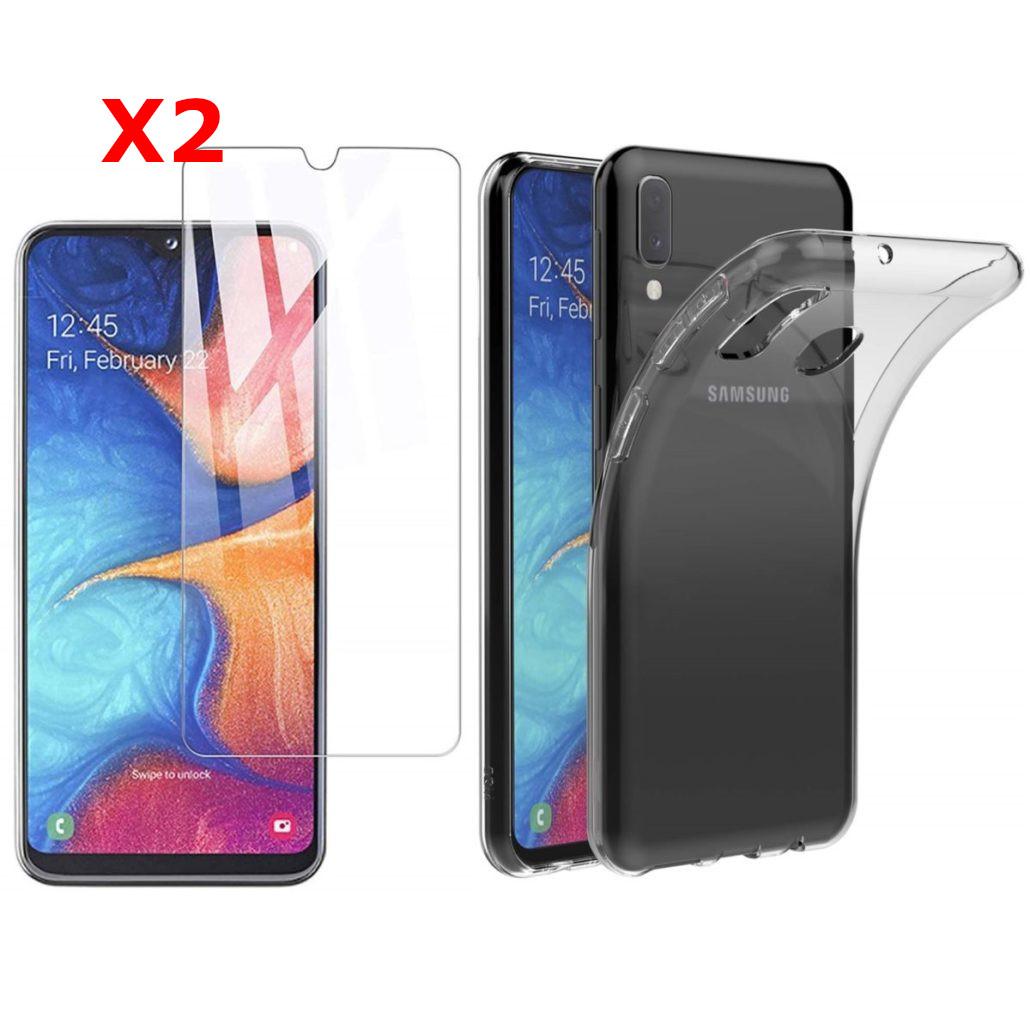 Coque Silicone pour Samsung A20e Etui de Protection Noir Antichoc + 2 Verre Trempe Little Boutik®