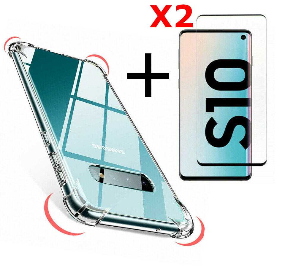 Coque Silicone pour Samsung S10 Plus Transparent avec Quatre Coins Renforces + 2 Verres Trempes Little Boutik®