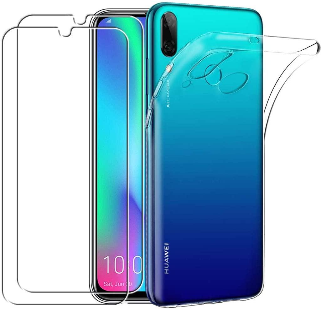 Coque Silicone Transparente Pour Huawei PSMART 2019 + 2 VerreS Trempe de Protection Ecran Little Boutik®