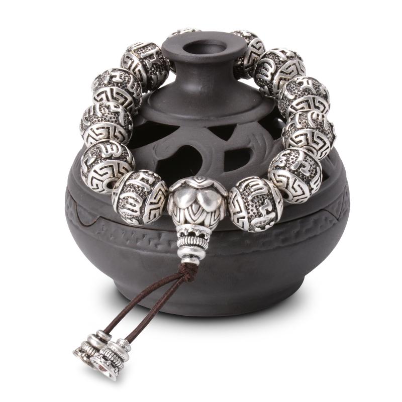bracelet porte bonheur mala en argent grav la main soldes hiver 2019 magie d 39 asie. Black Bedroom Furniture Sets. Home Design Ideas