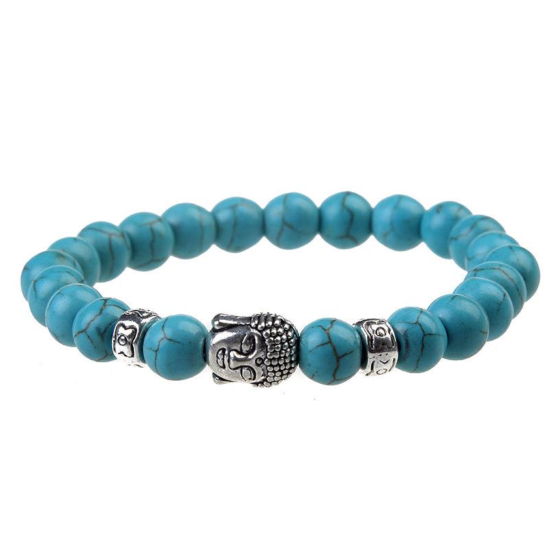 Tibetain-Mala-Bouddha-Pierres-turquoise-bracelet-noel-idées-cadeaux-bouddhiste