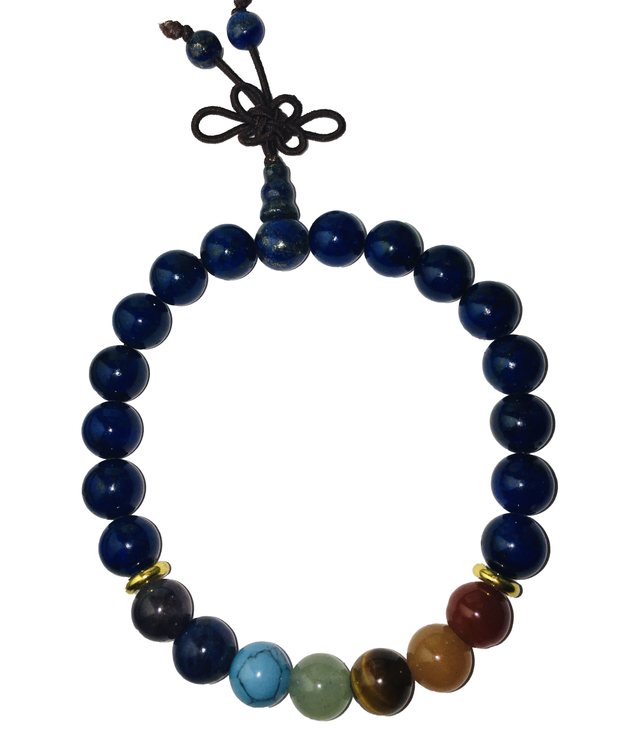 Véritable Bracelet Mala Lapis Lazuli + 7 chakas