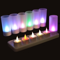 Set de 12 bougies multicolores à led rechargeables